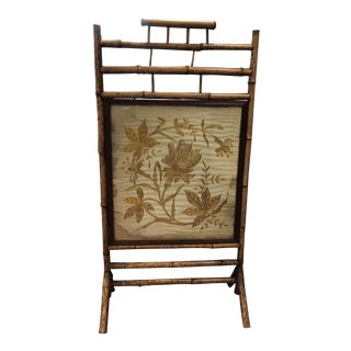 Antique Bamboo & Hand-Embroidered Silk Screen