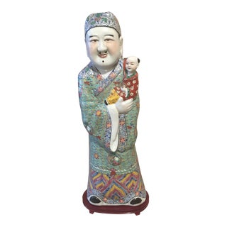 Vintage Chinoiserie Hand Painted God Statue For Sale