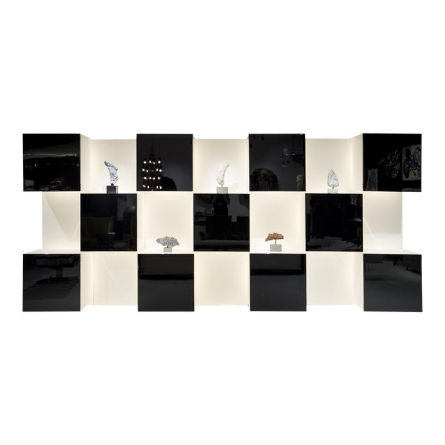 Important Black and White Bookcase, by Acerbis Int, Circa 1970 For Sale