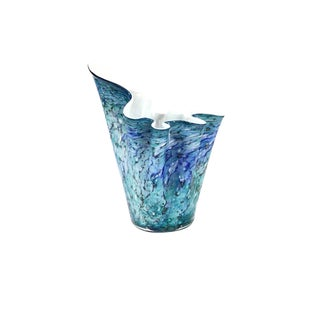 1950s Mid-Century Murano Hand-Blown Cased Glass Handkerchief Vase For Sale
