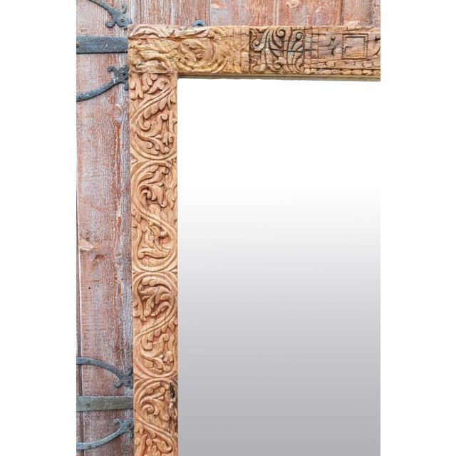 Brown Antique Primitive Fleur De Lis Carved Mirror For Sale - Image 8 of 11