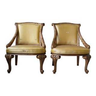 Gold Silk Carved Chairs - a Pair