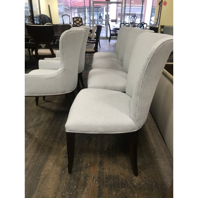 White Henredon Furniture Barbara Barry Bowmont Light Blue Dining Chairs- 6 Pieces For Sale - Image 8 of 11