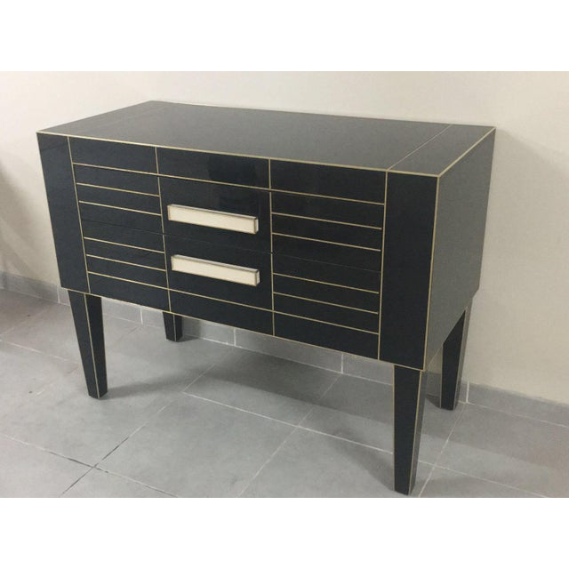 Modern Chest of Drawers in Black Mirror With Ivory Glass Handle For Sale - Image 3 of 9