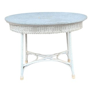 Antique Early 20th Century Victorian Stone Top Oval Wicker Table C1900 For Sale