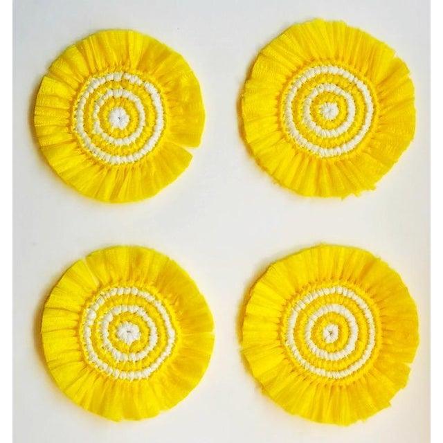 Boho Chic Yellow & White Woven Fringe Coasters - Set of 4 For Sale - Image 3 of 3