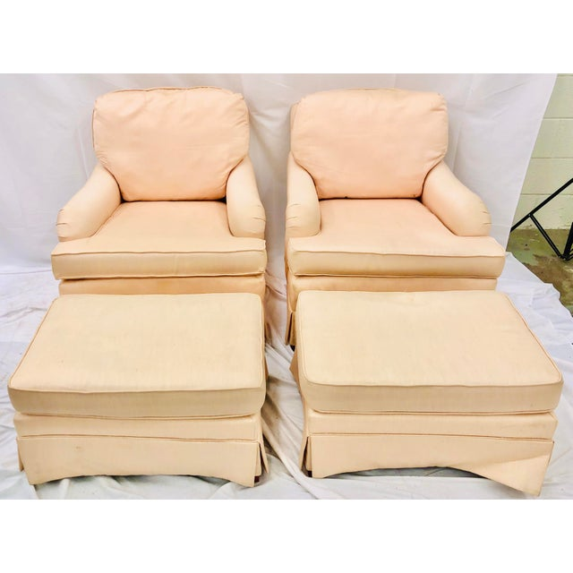 Late 20th Century Vintage Pair Club Chairs & Matching Ottomans For Sale - Image 5 of 5