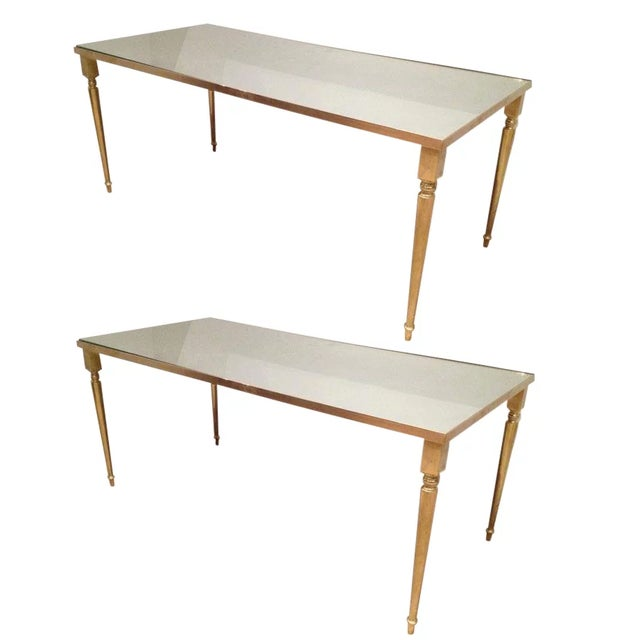 1960's Pair of Jansen Brass Coffee Tables For Sale - Image 10 of 10