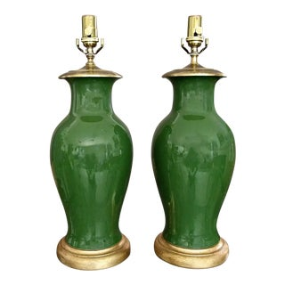 1970s Chinese Asian Dark Green Porcelain Table Lamps - a Pair For Sale