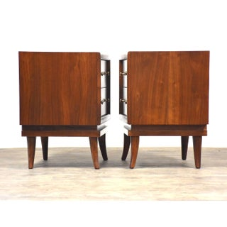 American of Martinsville Walnut & Brass Nightstands- a Pair Preview