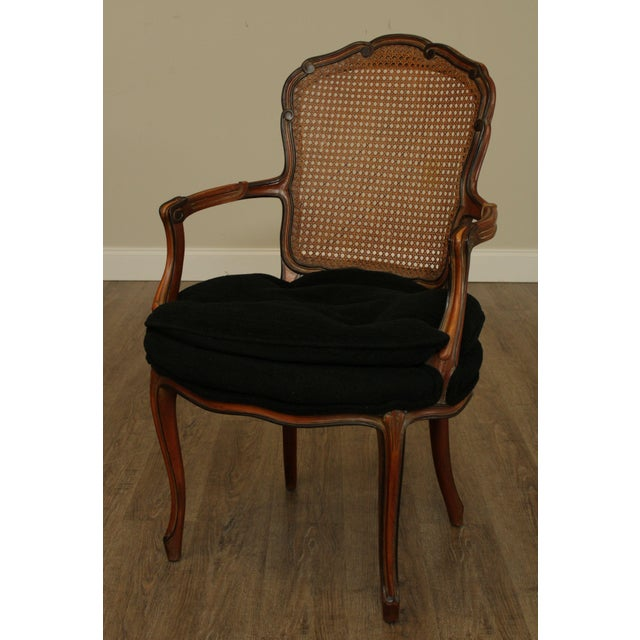 1950s French Louis XV Style Custom Quality Cane Back Fauteuil Armchairs - a Pair For Sale In Philadelphia - Image 6 of 13