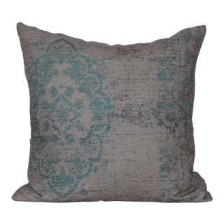 Turkish Distressed Turquoise Rug Print Pillow