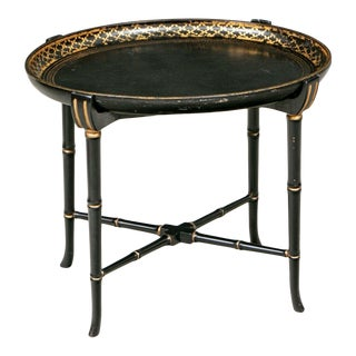 19th Century Black Lacquer Tole Tray Table For Sale