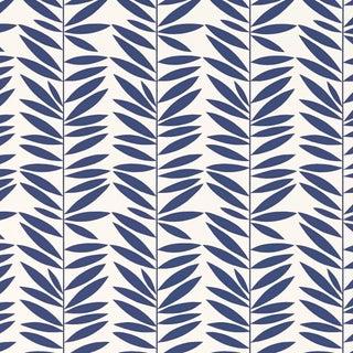 Schumacher Leaf Stripe Wallpaper in Marine For Sale