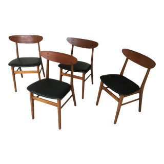 1960s Mid-Century Modern Danish T.H. Harlev Dining Chairs in Teak and Beech by Farstrup - Set of 4 For Sale