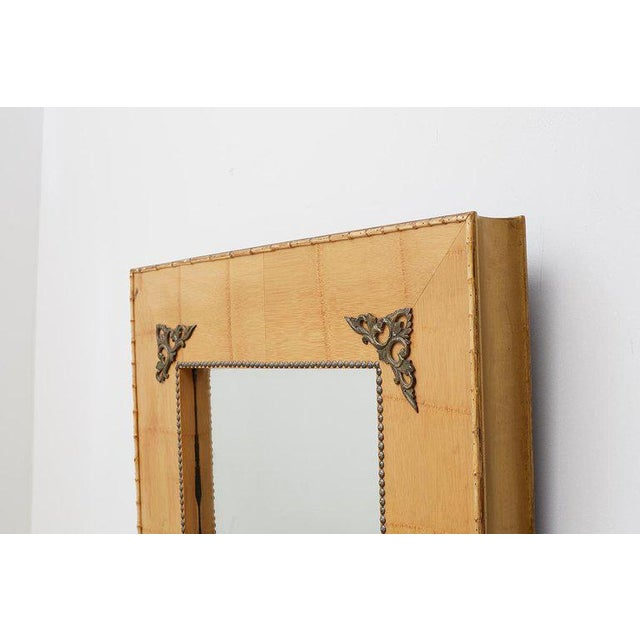 Black Pair of Bamboo Mirrors With Book Motif For Sale - Image 8 of 12
