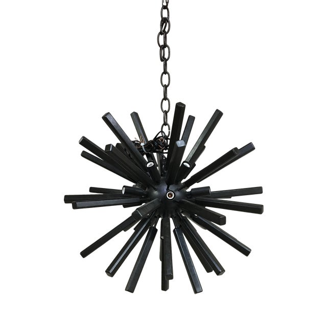 Lawrence Small Sputnik Chandelier by E. F. Chapman for Visual Comfort in Aged Iron For Sale
