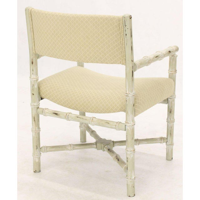 Mid-Century Modern Pair of Distressed Finish Faux Bamboo Capitan Chairs With X Bases For Sale - Image 3 of 13