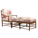 Image of 18th-Century Country French Rush Seat Bergere and Ottoman For Sale
