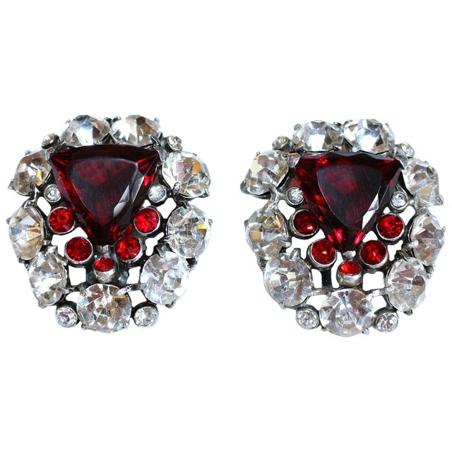 1930s Red Faceted Glass & Rhinestone Dress Clips - a Pair For Sale