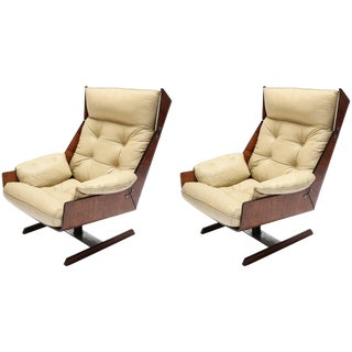 Pair of Novo Rumo 1960s Brazilian Jacaranda Lounge Chairs For Sale