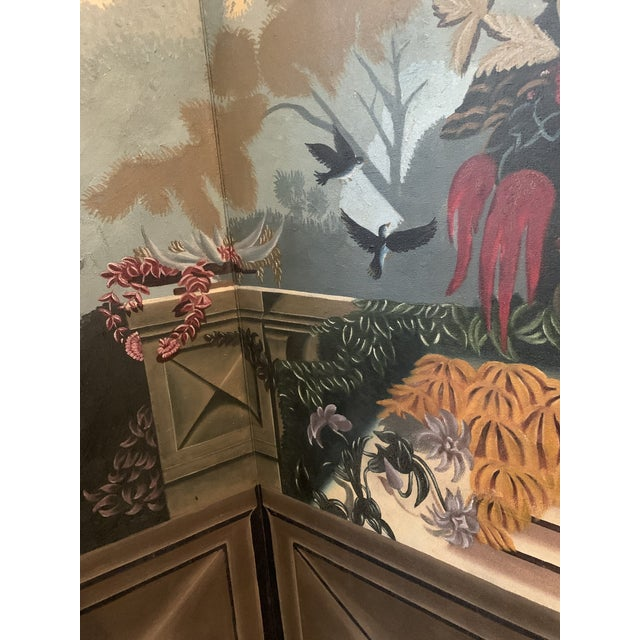 Vintage Maitland Smith Hand Painted 4 Panel Folding Screen For Sale - Image 9 of 13
