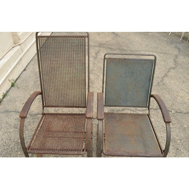 Vintage Steel Metal Mesh His and Hers Patio Bouncer Lounge Chairs - a Pair For Sale - Image 4 of 12