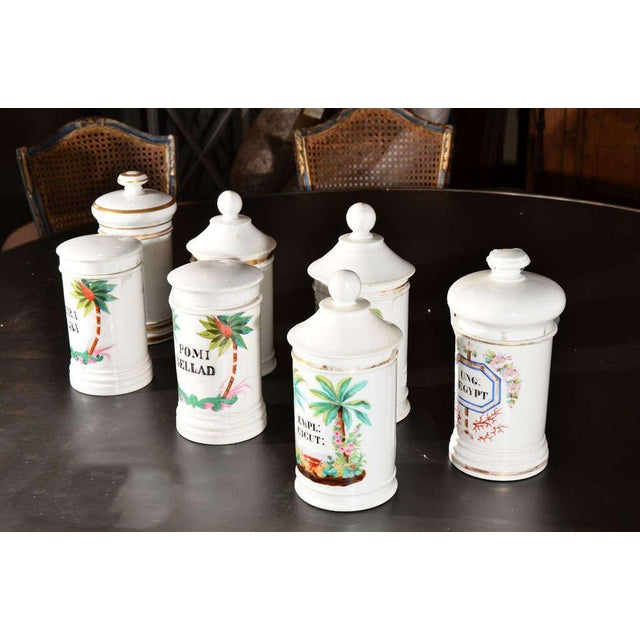 White Porcelain Apothecary Jars For Sale - Image 8 of 9