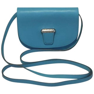 Nwot Hermes Teal Swift Leather Convoyeur Mini Messenger Crossbody Shoulder Bag For Sale