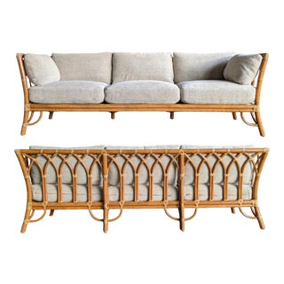 1980s Contemporary McGuire Bamboo Rattan Sofa For Sale