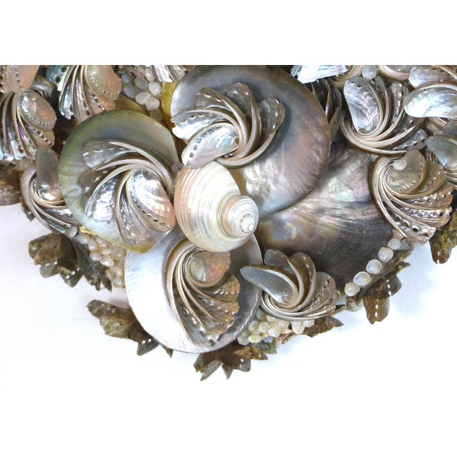 Rococo Palm Beach Chic Mother-Of-Pearl Shell Encrusted Mirror For Sale - Image 3 of 13