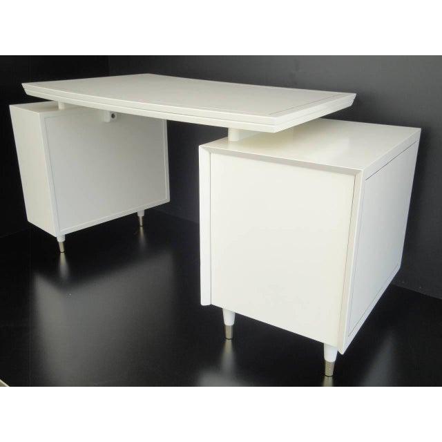 1960s 1960s Mid Century Modernist Floating Top Curved Partner Desk For Sale - Image 5 of 11