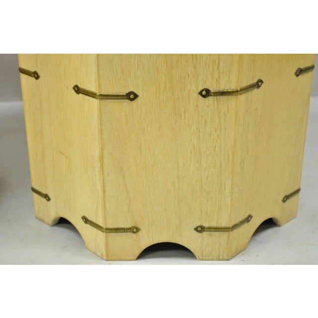 Vtg Cerused Mahogany Chinese Storage Chest Trunk Octagonal Side Tables - a Pair For Sale - Image 11 of 13