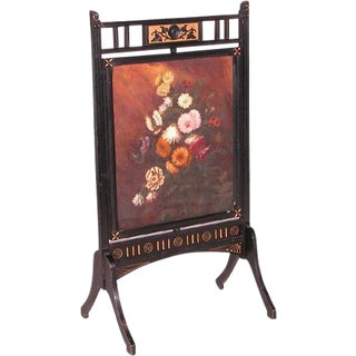 Antique Victorian Fireplace Ebony Colored Screen For Sale