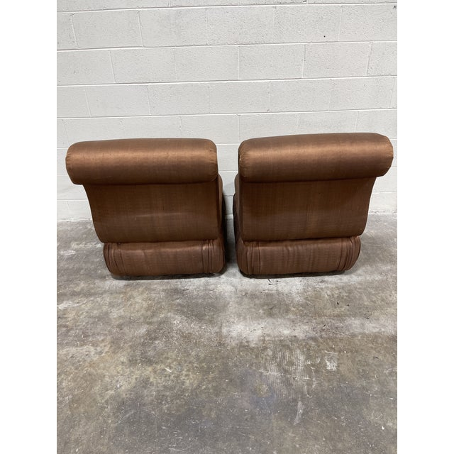 Fantastic pair of rolled back slipper chairs in silk shantung dupioni. Near perfect condition. No stains and cushions are...