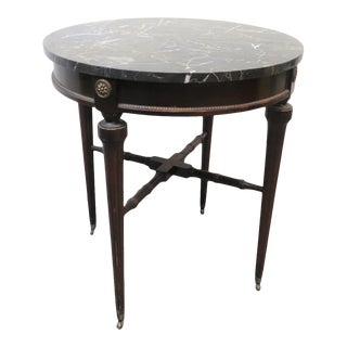 Early 20th Century Regency Style Black Marble Mahogany Table For Sale