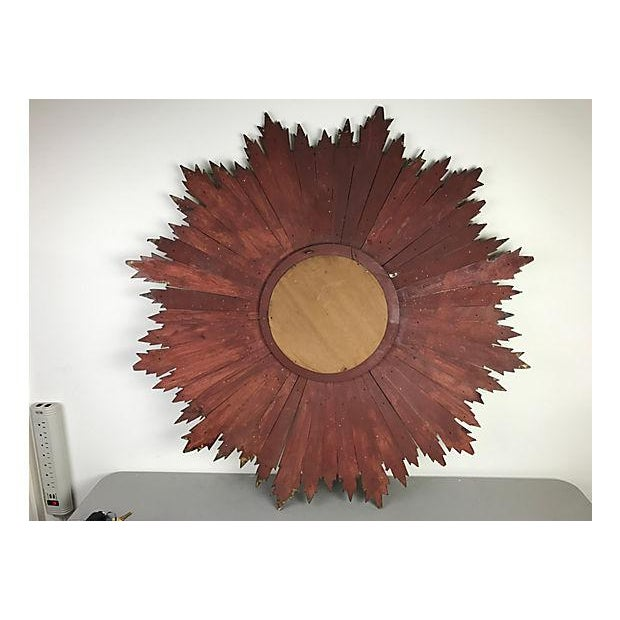 French Wood Sunburst Mirror - Image 4 of 4