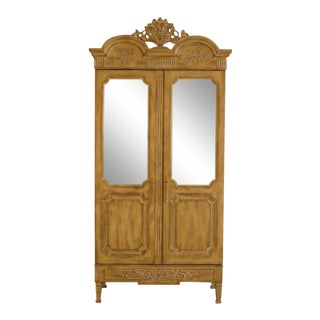 Country French Distressed Finish 2 Door Mirrored Armoire