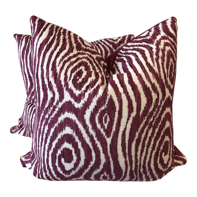 "Dark Pink Embroidered Faux Bois 22"" Pillows-A Pair For Sale"