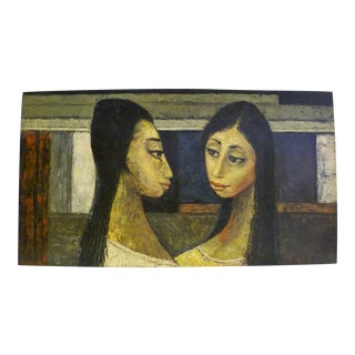 """""""Dos Damas"""" Bert Pumphrey """"Two Mexican Ladies"""" Oil Painting on Masonite 1950s, Mexico For Sale"""