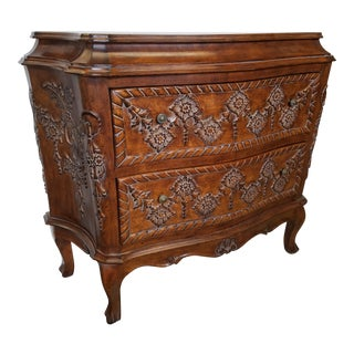 1980s French Style Walnut Two Drawer Chest For Sale
