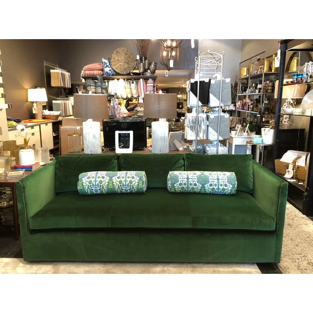 Keeneth Ludwig Chicago Highland House Emerald Green Velvet Sofa For Sale - Image 11 of 11