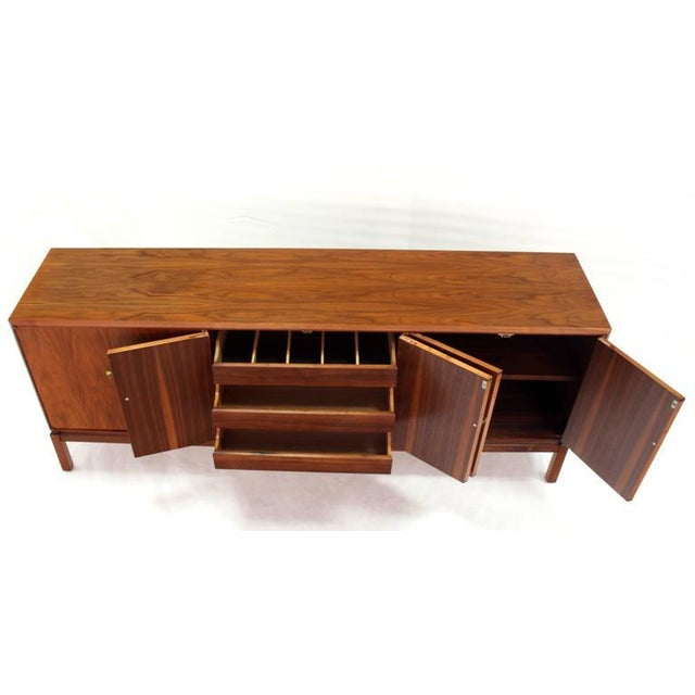 Mid-Century Modern Oiled Walnut Brass Latches Three Compartment Credenza Bracket Base Legs For Sale - Image 3 of 6