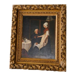 18th Century Framed Painting of a Couple Sharing a Drink by Unknown Artist For Sale