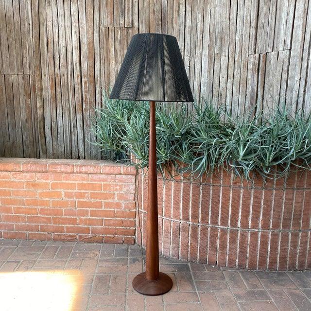 Vintage Danish Modern Teak Floor Lamp With Period Black String Shade For Sale - Image 13 of 13