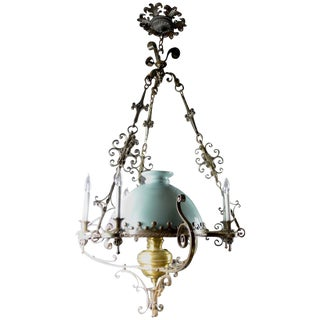Steel Brass and Glass Oil Light Chandelier in the Spanish Style For Sale