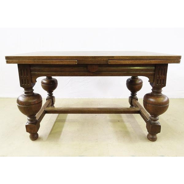 French Extending Antique French Solid Oak Jacobean Style Dining Table For Sale - Image 3 of 13