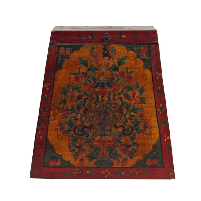 Chinese Tibetan Red Yellow Floral Graphic Trunk Box Table For Sale - Image 9 of 9