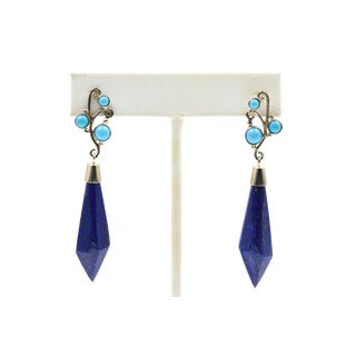 Lapis Lazuli & Turquoise Sterling Silver Drop Earrings For Sale