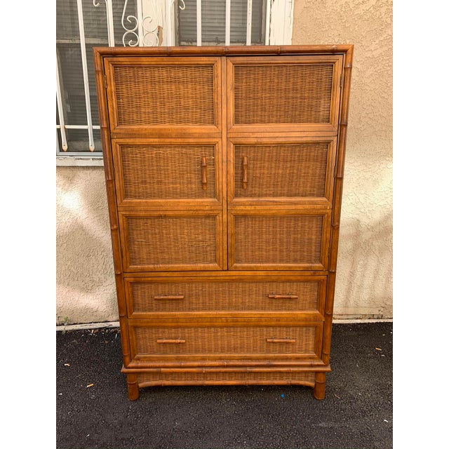 1970s American of Martinsville Faux Bamboo & Wicker ...
